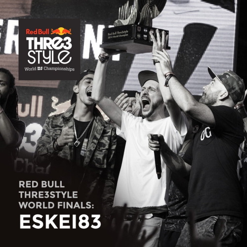 Germany'sEskei83has been crowned the 2014Red Bull Thre3styleWorld Champion — following a week of battles in Baku, Azerbaijan.The DJcity Germany team member went up against Flip (Ireland), Trayze (USA), Twist (Azerbaijan), Cinara (Brazil), and Carlo Atendido (Philippines) at the final battle on September 6.Eskei, who came in third place at the 2013 finals, was favored by many to win this year's battle. His winning set featured hard-hitting beats, creative tone play and his signature reggae influences. Listen here: http://www.mixcloud.com/RedBullThre3style/eskei83-germany-world-finals-championship-final/