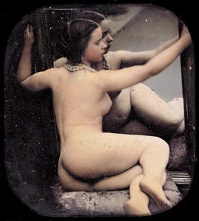 grandma-did:  Auguste Belloc - Delphine Herbe with mirror, Paris c. 1851-55  Very vintage nude. Beautiful.