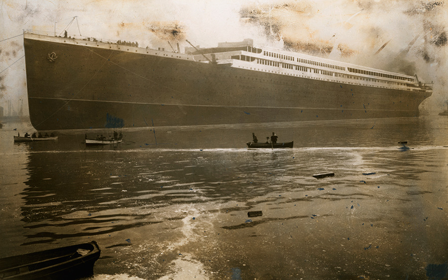 The Britannic, a massive British steamer and sister ship to the Titanic, launches from Belfast Harbor in 1914. The Britannic sunk two years later after encountering a German mine field in the Meditteranean sea.No Credit Given