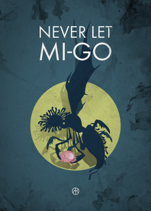 "A mi-go holds a brain and text reads ""Never let mi-go"""