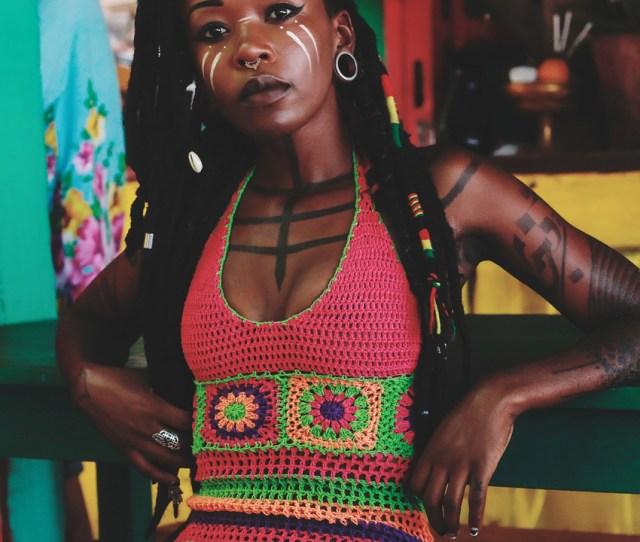 Tattooed Women Locs Shop Online Blackwork Tattoo Sexy Dress Chest Tattoo Burning Man Crochet Dress Manaka Manaka Handmade Tattooed Black Girls Hippie