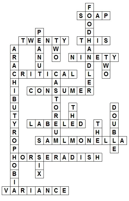 Food Safety Crossword Puzzle #1 Let the games...