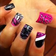 beauty art fashion black pink nails