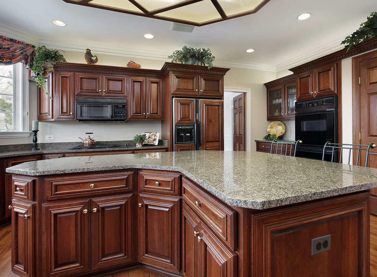 granite kitchen tile countertop island designs layouts great lakes marble desert brown