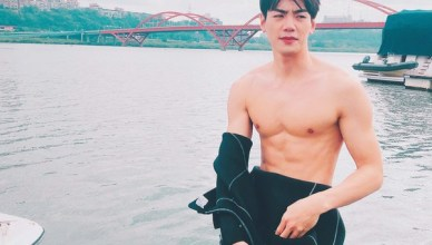 Bruce Hung Shows Off His Sculpted Body While Surfing for New Series Hello Again!