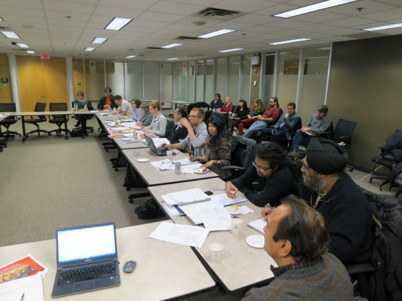 Bargaining Team members, with some supporters in the background, at the bargaining meeting with the Employer on November 25, 2014