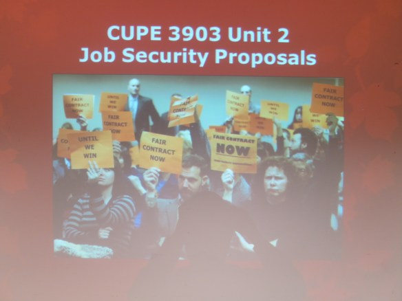 Bargaining Team members presented on the Union's Job Security and Workload proposals.