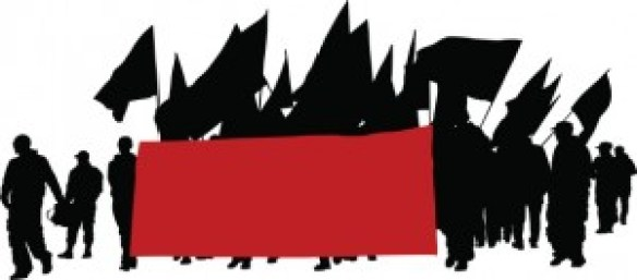 A drawing of marchers in silhouette, carrying a large red banner