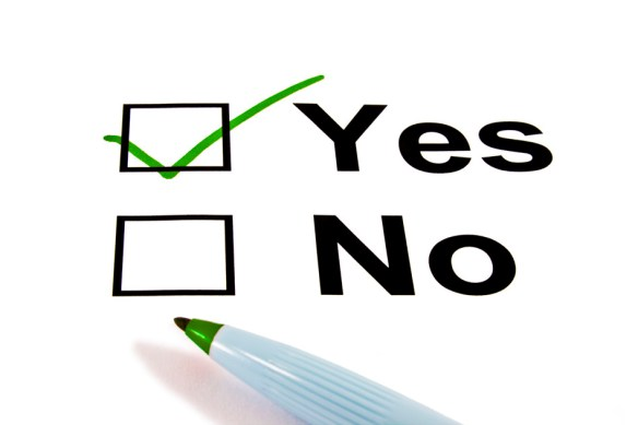 "An image of a ballot with a green check-mark in the box marked ""Yes"" above a box marked ""No"""