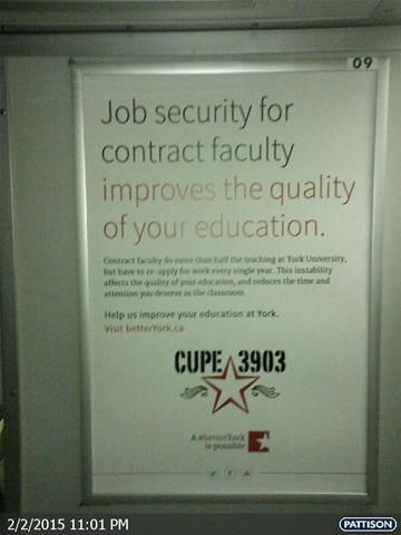 A CUPE 3903 bargaining ad inside a TTC subway car