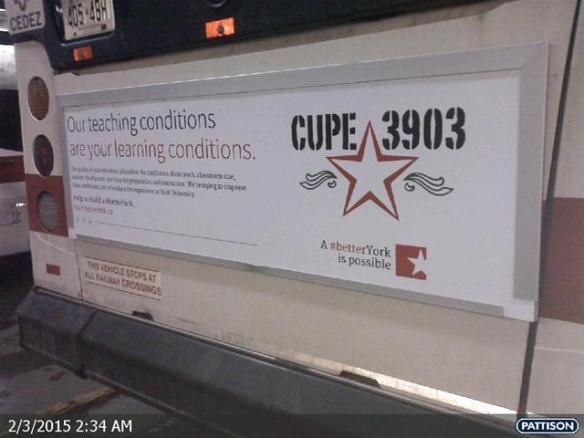 A CUPE 3903 bargaining ad on the back of a TTC bus