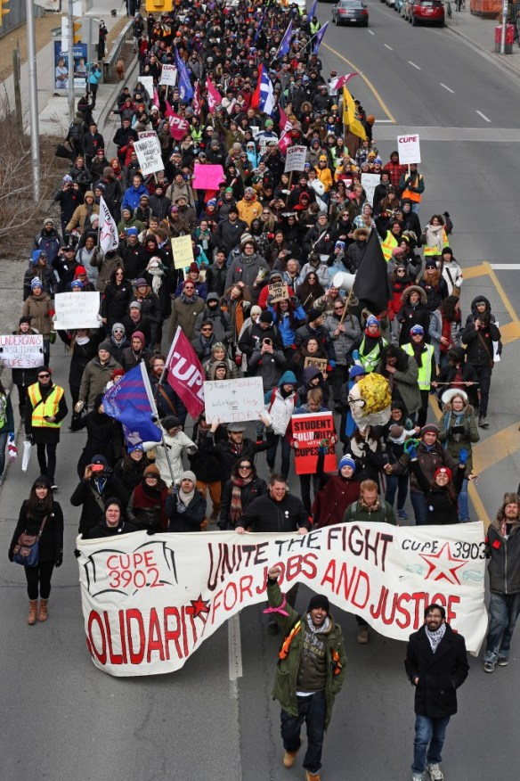 A picture from the front of the March to Unite the Fight! march on March 27, 2015.