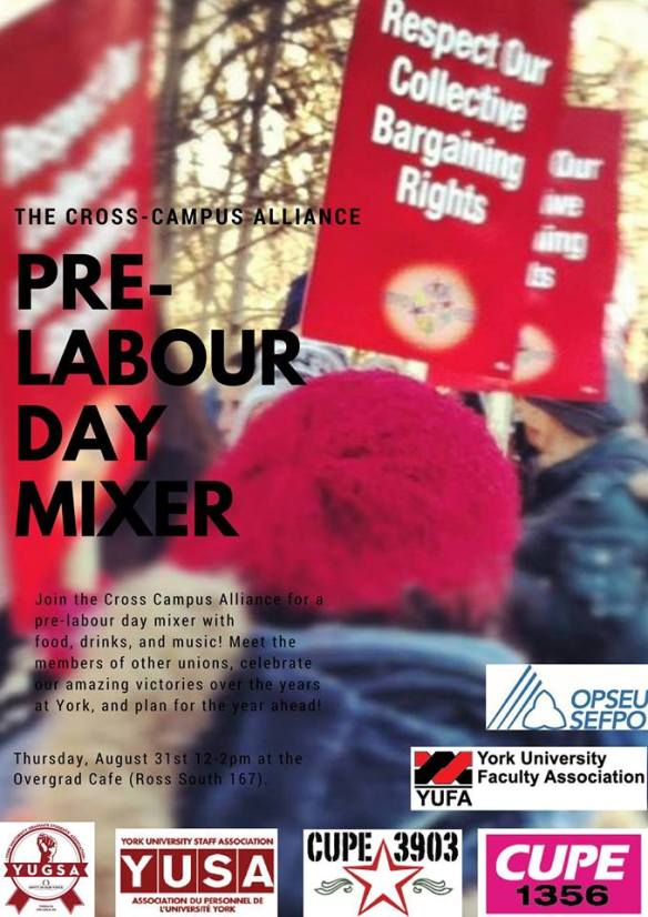 The poster for the Pre-Labour Day Mixer.
