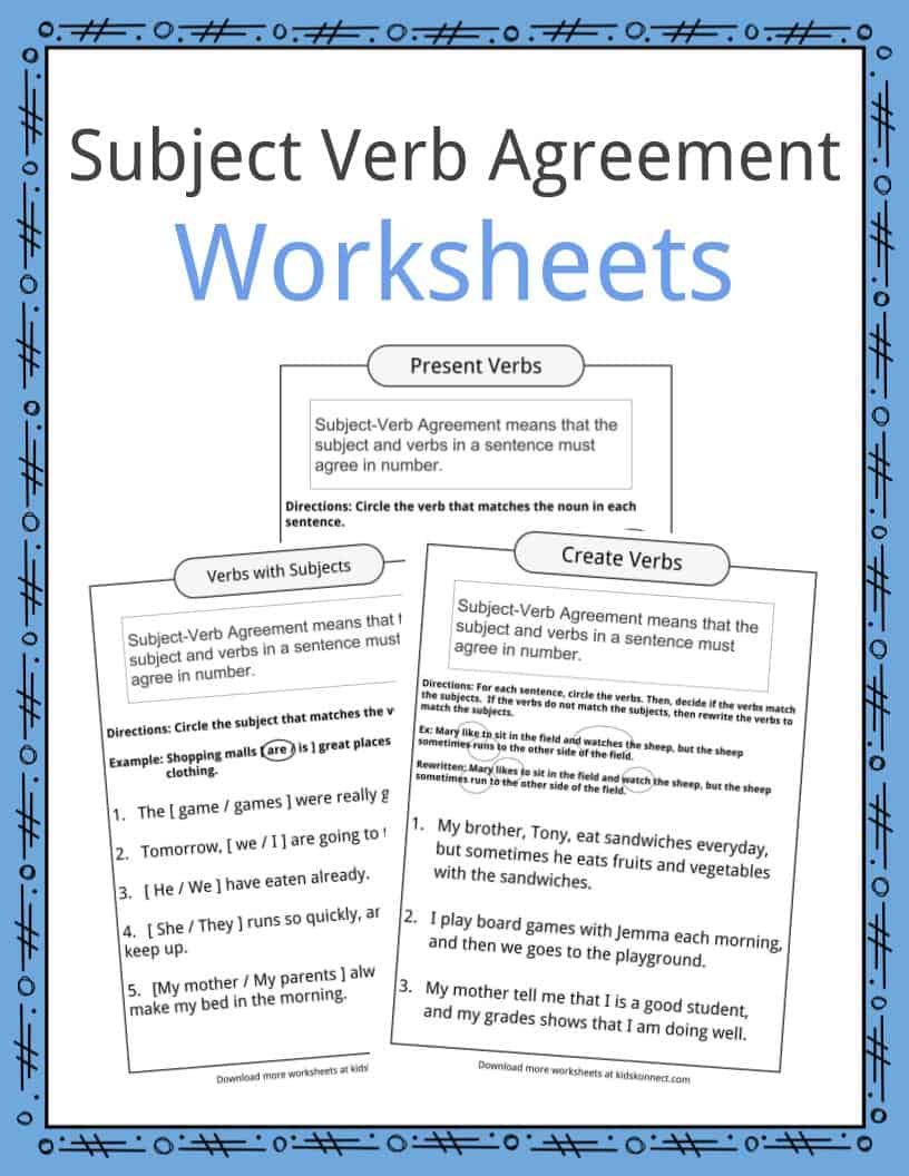 medium resolution of Subject Verb Agreement Worksheets   KidsKonnect