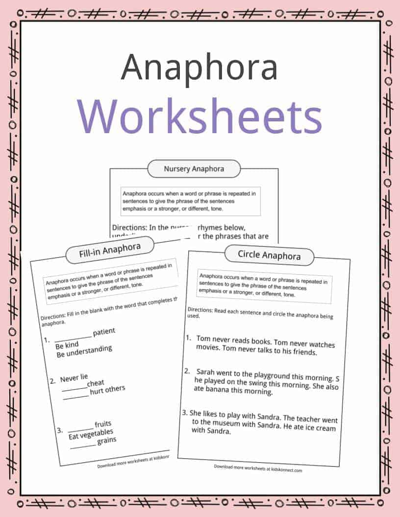 hight resolution of Anaphora Examples