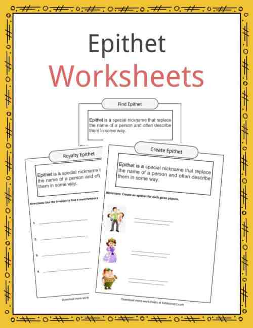 small resolution of Epithet Worksheets