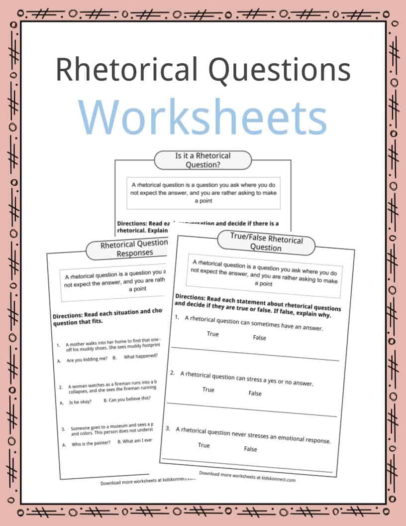 medium resolution of Rhetorical Question Worksheets
