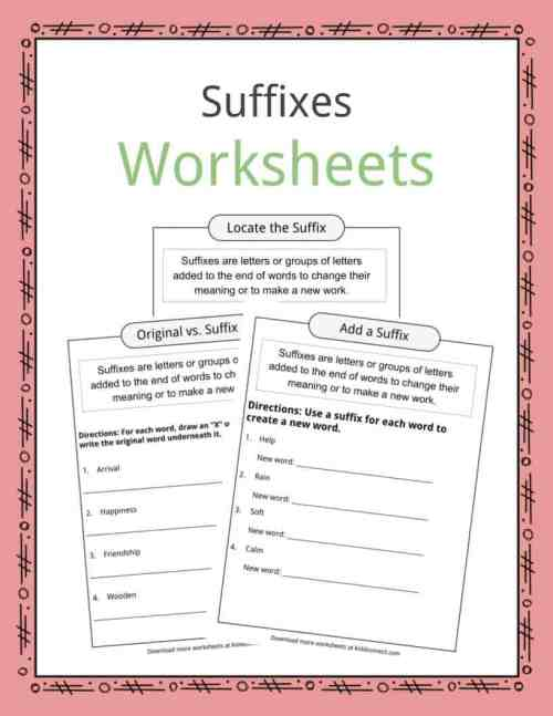 small resolution of Suffixes Worksheets