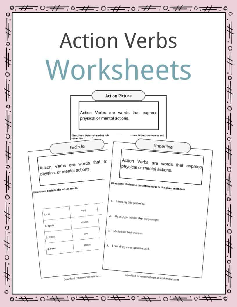 medium resolution of Action Verbs Worksheets