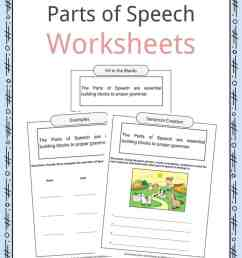 Parts of Speech Worksheets [ 1056 x 816 Pixel ]
