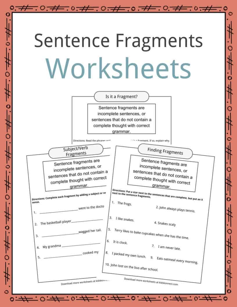 medium resolution of Sentence Fragments Worksheets