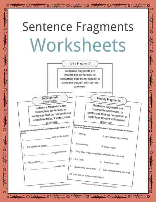 small resolution of Sentence Fragments Worksheets