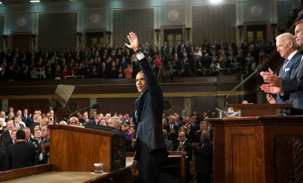President Obama at the State of the Union. (White House photo)