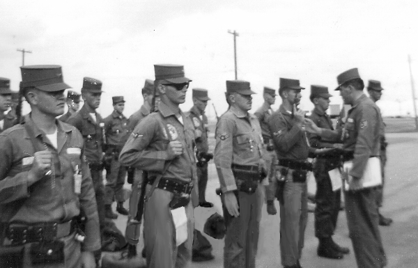 Guard Mount 'C' Flight Ssgt Jose AR Gomaz inspecting, fall 1962 EDIT