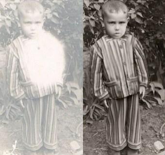 Damaged Photo of Little Boy
