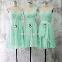 Mismatch Short Mint Green Bridesmaid Dresses, Chiffon ...