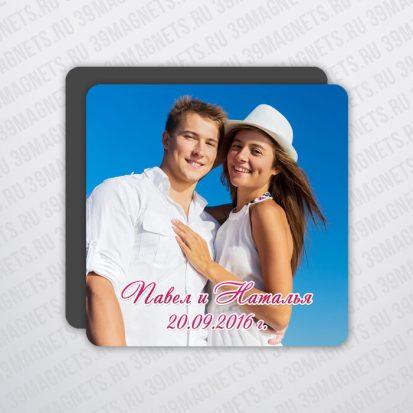 Виниловый свадебный фотомагнит 6*6 см.