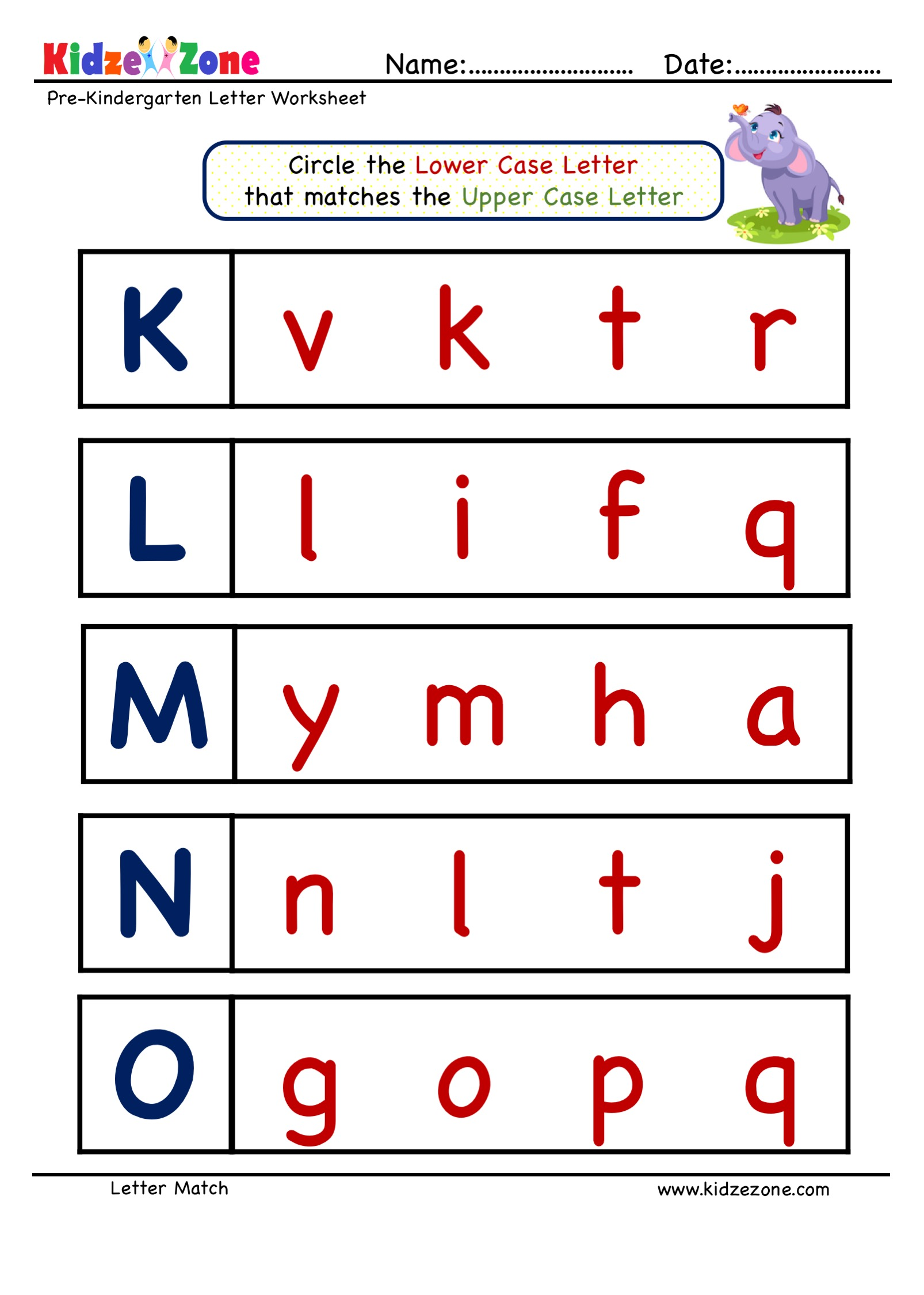 Preschool Letter Matching Upper Case To Lower Case Worksheet 2
