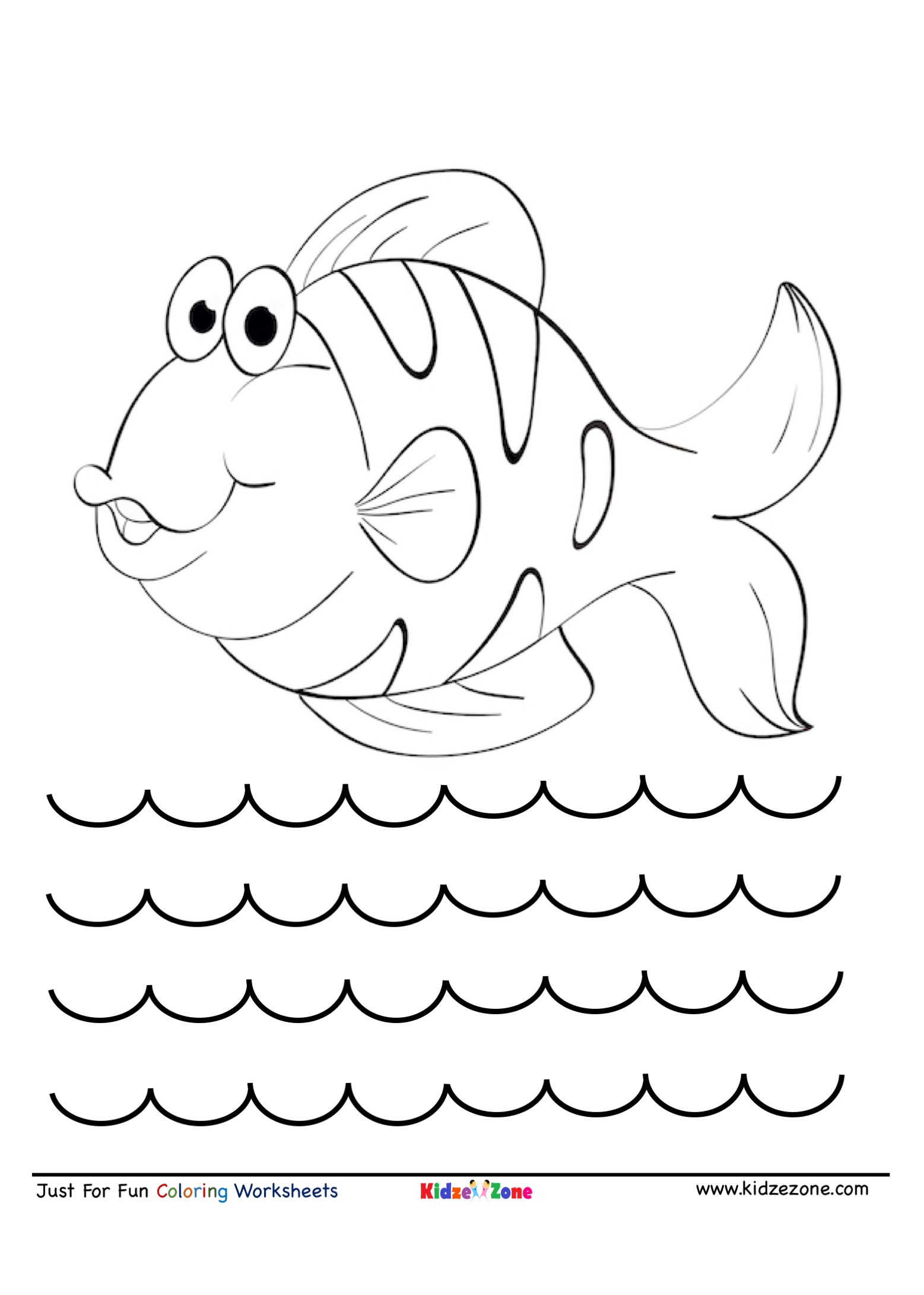Smiling Fish Cartoon Coloring Page