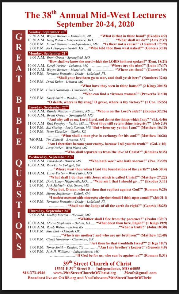 38th Annual Mid-West Lectures Great Bible Questions Schedule