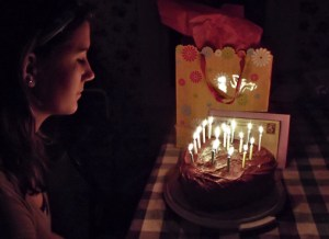 Sweet Sixteen Birthday Cake and Candles