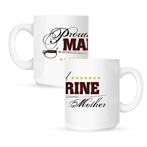 Insomniac Arts - Proud Marine Mom, USMC Military Supporter - 15 Ounce Coffee Mug