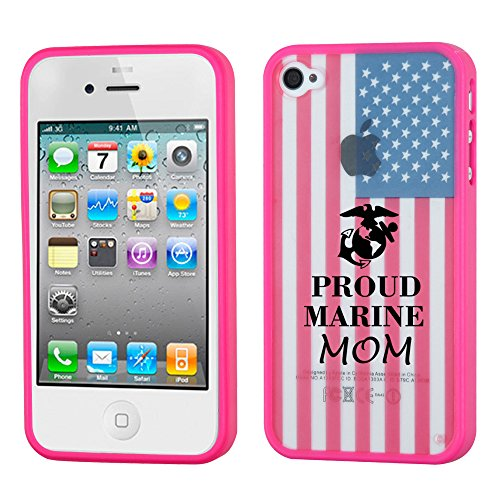 Iphone 4/4S  Proud Marine Mom Flag/Solid Gummy Cover (Pink)