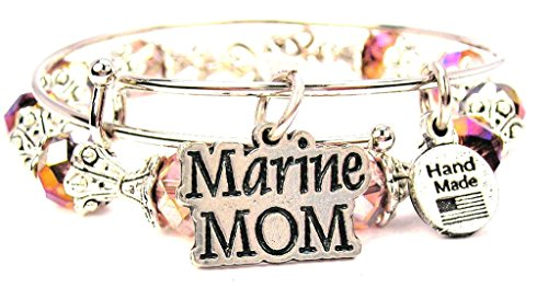 Marine Mom Collection Crystal Bangle Set in Lavender Purple