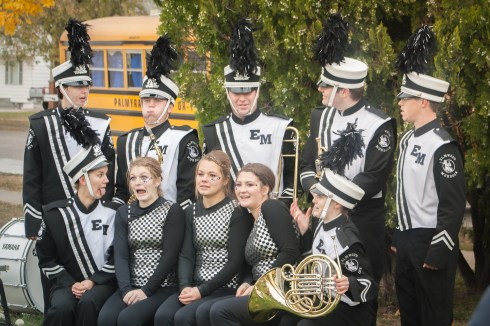 Senior marching band members after the marching band competition