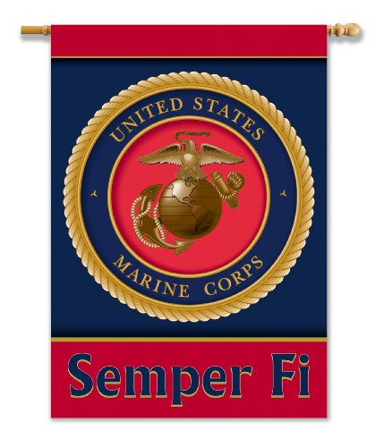 Official Marine Seal Semper Fi 2-Sided Banner with Pole Sleeve