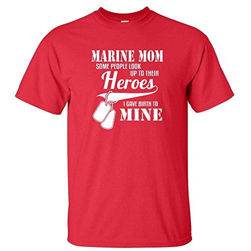 PROUD MARINE MOM HERO MOTHER MILITARY GIFT GUN MENS T-SHIRT Red S