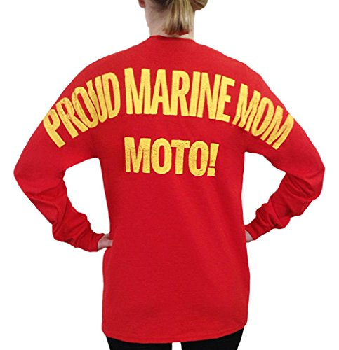USMC - Proud Marine Mom Moto Stadium Jersey T Shirt Red Small