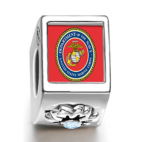 Burning Love Character Marine Corps March birthstone Photo Flower European Charm Bead Bracelets
