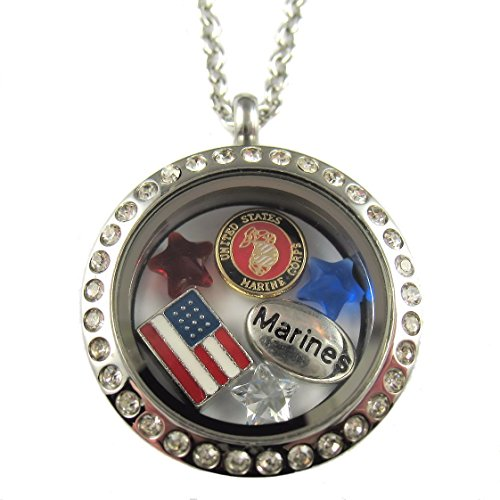 FCL Designs - Marine Corps Theme Floating Charm Locket Necklace