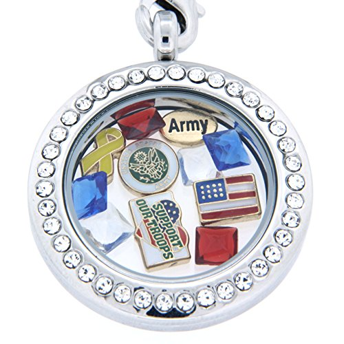 Military Theme Floating Charm Locket Necklace
