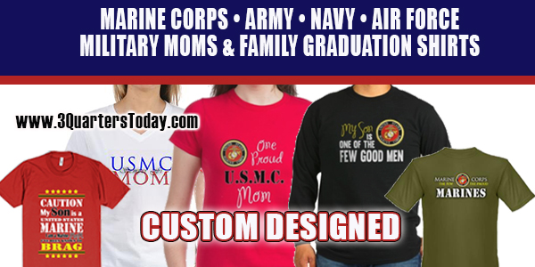 I Custom graphic design products for the military and Marine Corps. This includes shirts, apprrel and gifts from 3 Quarters Images