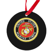 Black Marine Corps Seal Christmas Ornament