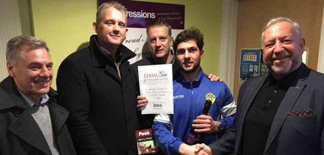 Lewis Codling receives his MoM award from Match Day Sponsors Poco Coffee