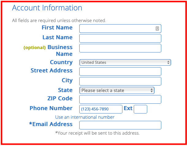 How to Start a Blog - Bluehost Account information