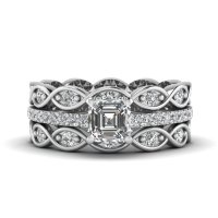 Asscher Cut Infinity Band Diamond Ring Sets In 14K White ...